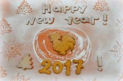 Jaar van de Haan Nieuwjaarkoekjes 2017 Stock Afbeelding