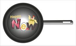 Jaar van de rode Haan De haan en de kip in een pan vieren het Nieuwjaar Stock Foto