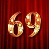 69 jaar van de verjaardagsviering het ontwerp Stock Afbeeldingen
