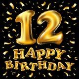 12 jaar van de verjaardagsviering het ontwerp met confettien, ballon en vlag gekleurd gouden geïsoleerd op zwarte achtergrond, ve Stock Afbeelding