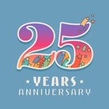 25 jaar van de verjaardagsviering het vectorpictogram, embleem Stock Foto's