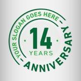 14 jaar van de Verjaardagsviering de Ontwerpsjabloon Verjaardagsvector en illustratie Veertien jaar embleem royalty-vrije illustratie