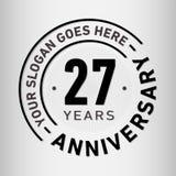27 Jaar van de Verjaardagsviering de Ontwerpsjabloon Verjaardagsvector en illustratie Zevenentwintig jaar embleem vector illustratie