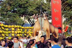 Jaar van het Geitsymbool voor Tet, Ho Chi Minh-stad Stock Afbeeldingen