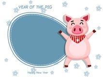 Jaar van het varken Vector Leuk het beeldverhaal vet varken van de Groetkaart decoratief element op vakantie affiches, giftmarker royalty-vrije illustratie