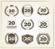 20 jaar van het verjaardagsembleem de reeks Royalty-vrije Stock Afbeelding