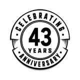 43 jaar van het verjaardagsembleem het malplaatje 43ste vector en illustratie vector illustratie