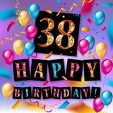 38 jaar verjaardags, gelukkige verjaardag Stock Fotografie