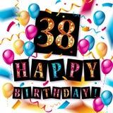 38 jaar verjaardags, gelukkige verjaardag Stock Afbeelding
