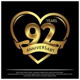 92 jaar verjaardags gouden het ontwerp van het verjaardagsmalplaatje voor Web, spel, Creatieve affiche, boekje, pamflet, vlieger, stock illustratie