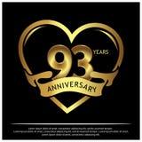 93 jaar verjaardags gouden het ontwerp van het verjaardagsmalplaatje voor Web, spel, Creatieve affiche, boekje, pamflet, vlieger, stock illustratie