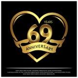 69 jaar verjaardags gouden het ontwerp van het verjaardagsmalplaatje voor Web, spel, Creatieve affiche, boekje, pamflet, vlieger, vector illustratie