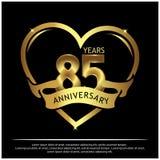85 jaar verjaardags gouden het ontwerp van het verjaardagsmalplaatje voor Web, spel, Creatieve affiche, boekje, pamflet, vlieger, stock illustratie