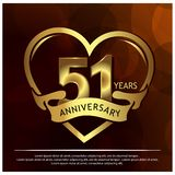 51 jaar verjaardags gouden het ontwerp van het verjaardagsmalplaatje voor Web, spel, Creatieve affiche, boekje, pamflet, vlieger, vector illustratie