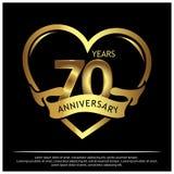 70 jaar verjaardags gouden het ontwerp van het verjaardagsmalplaatje voor Web, spel, Creatieve affiche, boekje, pamflet, vlieger, stock illustratie