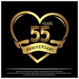 55 jaar verjaardags gouden het ontwerp van het verjaardagsmalplaatje voor Web, spel, Creatieve affiche, boekje, pamflet, vlieger, vector illustratie
