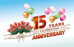 15 jaar verjaardags met een boeket van rozen Stock Afbeelding