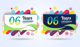 06 jaar verjaardags met moderne vierkante ontwerpelementen, kleurrijke uitgave, het ontwerp van het vieringsmalplaatje, pop vieri royalty-vrije illustratie