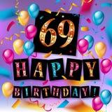 69 jaar verjaardags Vector illustratie stock illustratie