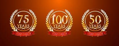 100 75 50 jaar verjaardagsetiketten stock foto