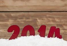 Jaar 2014 in verse sneeuw Stock Afbeelding