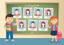 Jaarboek voor school over schoolmeisje en schooljongen stock afbeeldingen