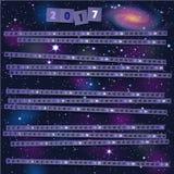 Jaarkalender met document stroken op blije kosmische achtergrond Royalty-vrije Stock Afbeelding