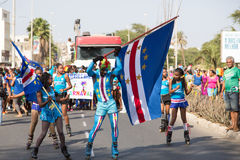 Jaarlijks Carnaval in het kapitaal in Kaapverdië, Praia. Royalty-vrije Stock Foto