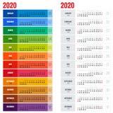 Jaarlijks de Ontwerpersmalplaatje van de Muurkalender voor het Jaar van 2020 Het vectormalplaatje van de Ontwerpdruk De week begi Stock Foto