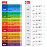 Jaarlijks de Ontwerpersmalplaatje van de Muurkalender voor het Jaar van 2019 Het vectormalplaatje van de Ontwerpdruk De week begi Royalty-vrije Stock Afbeelding