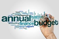Jaarlijks de wolkenconcept van het begrotingswoord op grijze achtergrond royalty-vrije stock fotografie