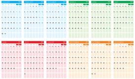 Jaarlijks kalender vlak ontwerp 2017 Stock Fotografie