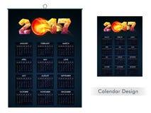 Jaarlijks Kalenderontwerp van 2017 Stock Illustratie