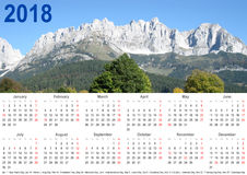 Jaarlijkse kalender 2018 de berglandschap van de V.S. Royalty-vrije Stock Afbeeldingen