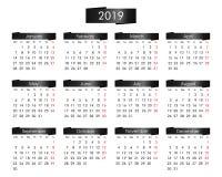 jaarlijkse kalender voor het jaar van 2019 met de metaalzwarte vector illustratie