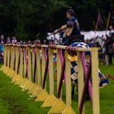Jaarlijkse Middeleeuwse jousting toernooien bij Linlithgow-paleis, Schotland royalty-vrije stock foto's