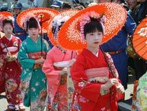 Jaarlijkse traditionele parade van geisha in Japan Stock Afbeelding
