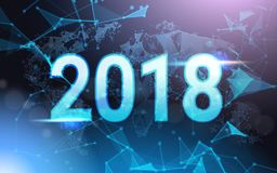 2018 Jaarteken over Futuristisch Laag Polymesh wireframe on blue background Vector Illustratie