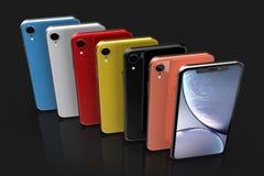 Jabłczani iPhone XR colours, pionowo pozycja, wyrównująca zdjęcie stock