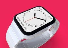 Jabłczani 4 zegarka plotki biały ceramiczny powieściowy smartwatch, mockup obrazy royalty free