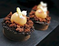 Jabłczany i czekoladowy tarta z zdjęcia stock