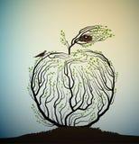 Jabłczany spojrzenie jak gałąź z gniazdeczkiem i ptakami, eco owocowy pomysł, istny natura produkt, bierze opiekę drzewo, ilustracji