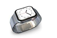 Jabłczany zegarek 4, 44 mm jednakowego smartwatch - srebro fotografia stock