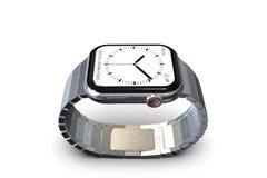 Jabłczany zegarek 4, 44 mm jednakowego smartwatch - srebro zdjęcia stock