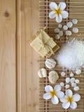 Jabón, cáscaras, piedras y flores del tiare Fotografía de archivo