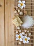 Jabón, cáscaras y flores del tiare Imagen de archivo libre de regalías