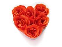 Jabón color de rosa del rojo en un rectángulo. Imágenes de archivo libres de regalías