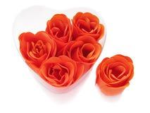 Jabón color de rosa del rojo en un rectángulo. Fotografía de archivo libre de regalías