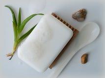 Jabón con áloe Fotos de archivo libres de regalías