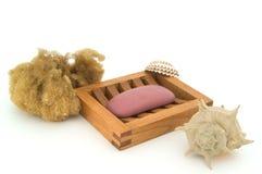 Jabón con la esponja y el shell naturales. Fotos de archivo